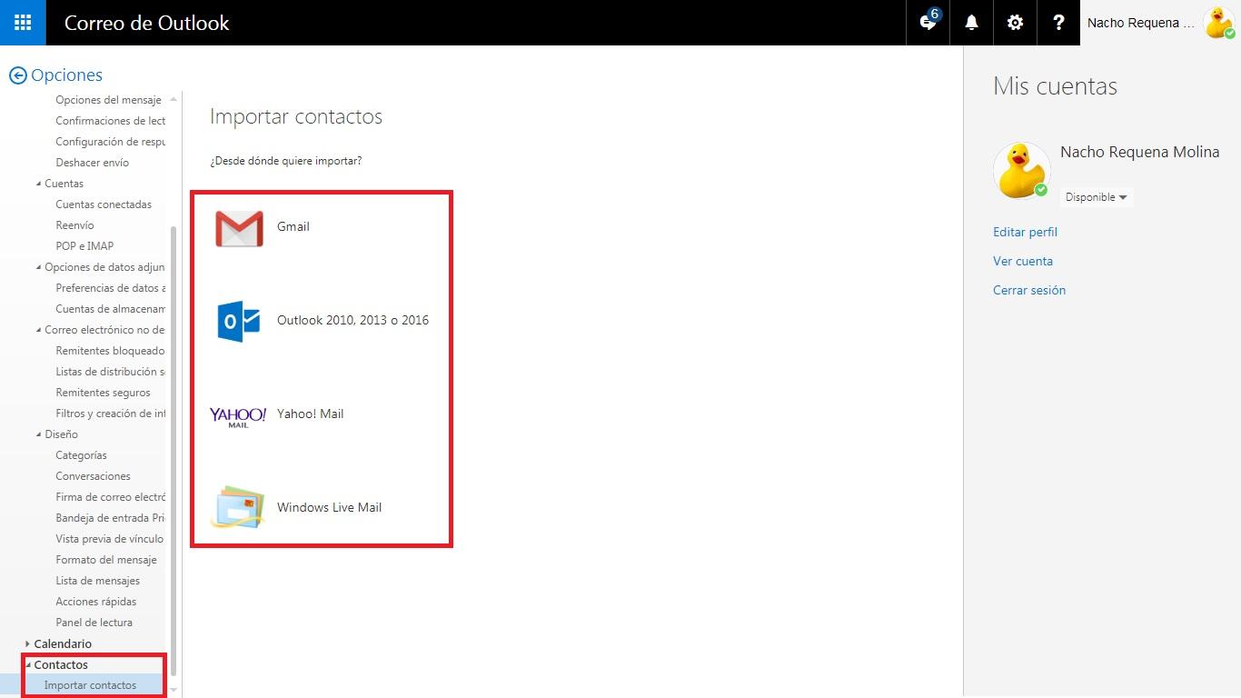 pasos para importar contactos a outllok o hotmail