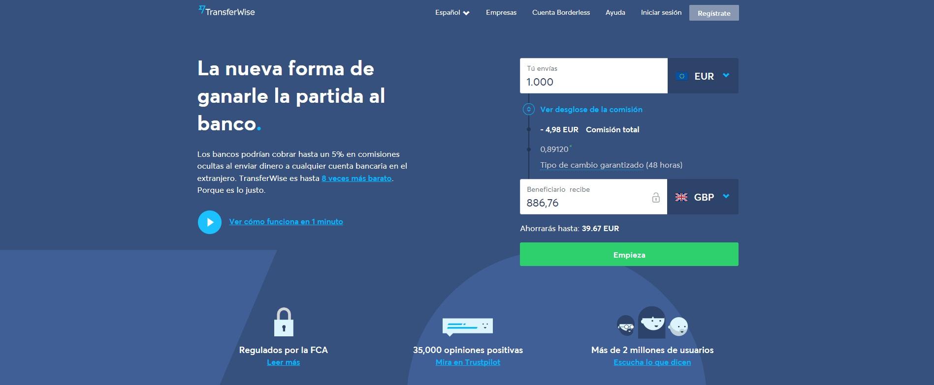 Transferwise aplicación para transferir dinero