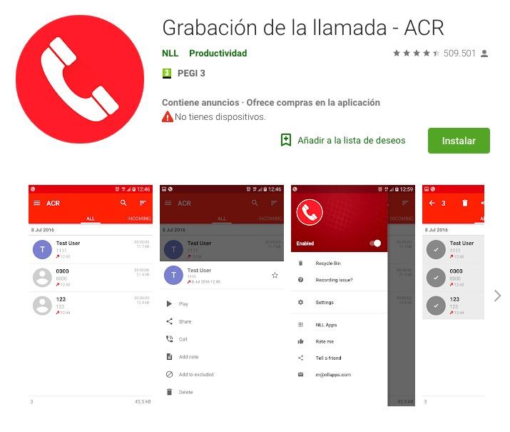 grabador de llamadas ACR