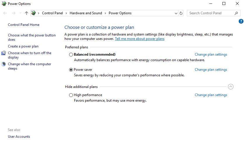 Comprueba la configuración de ahorro de energía de tu portatil