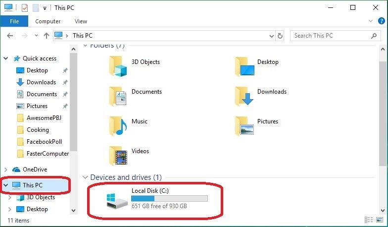 Para hacer una comprobación de disco, abre el Explorador de archivos y ves a This PC