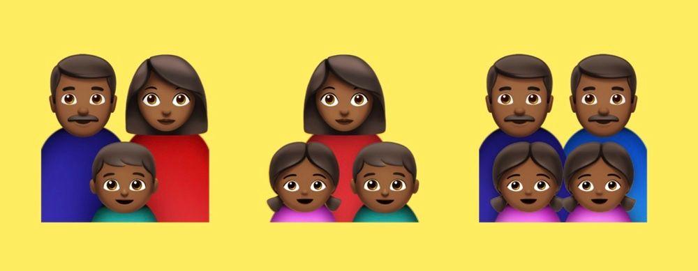 Emojis de familias de piel negra