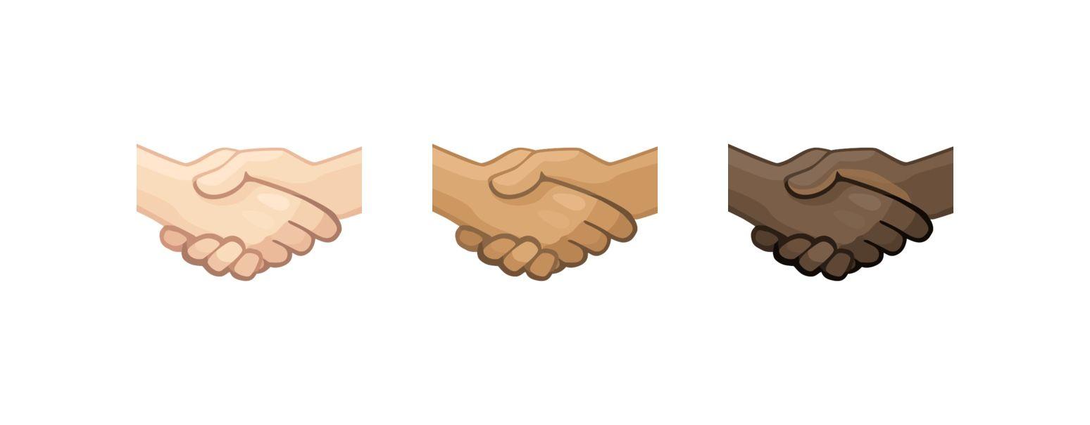 Emojis: Darse la mano en todos los colores de piel