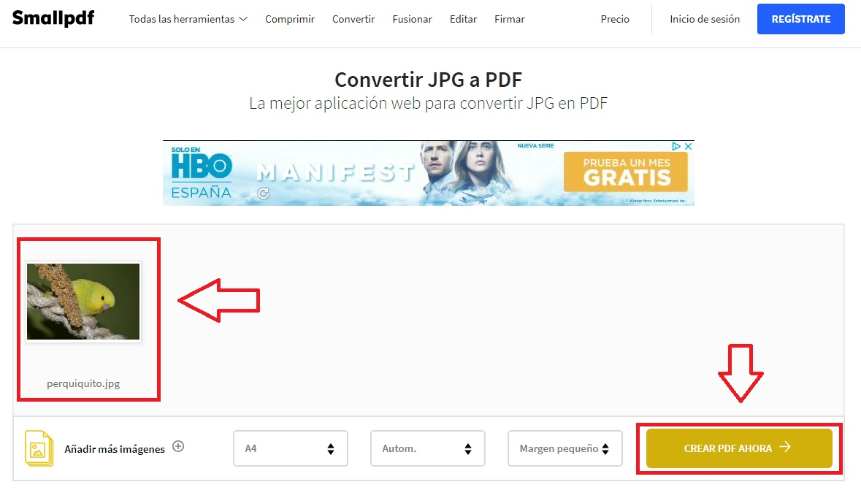 Cómo convertir una imagen JPG a PDF