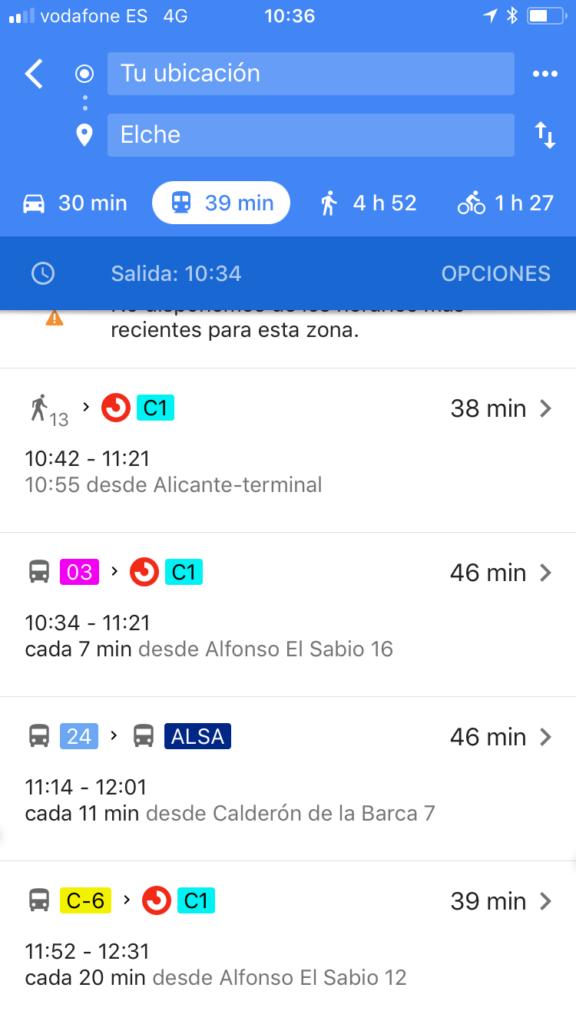 horarios transporte público Google Maps