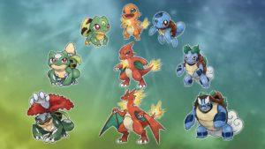 Así se verían los Pokémon Iniciales de Kanto y Johto en un hipotético reboot de la saga