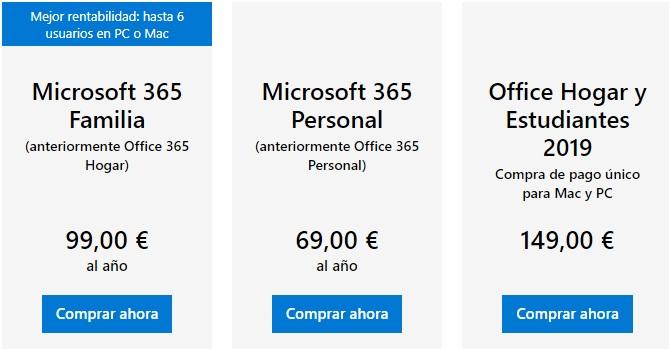 Planes de Microsoft 365