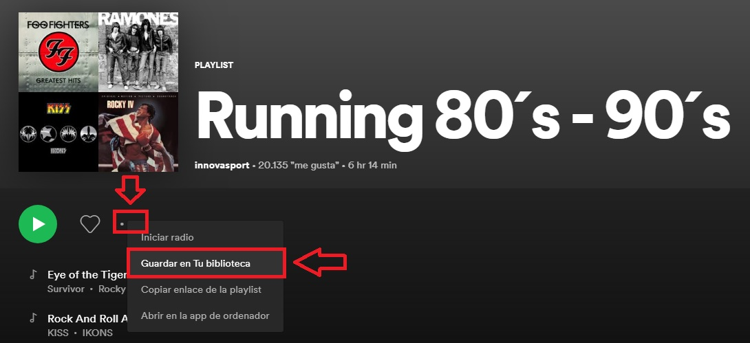 Cómo guardar una playlist
