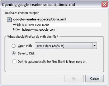 Export Google Reader feeds