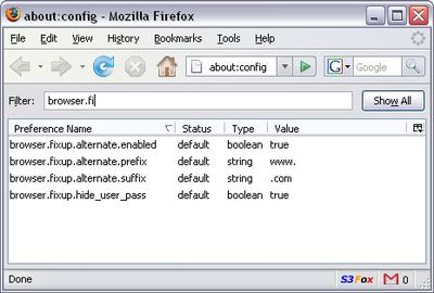 Autocomplete URL in Firefox