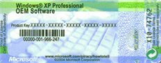 Windows XP product key sticker