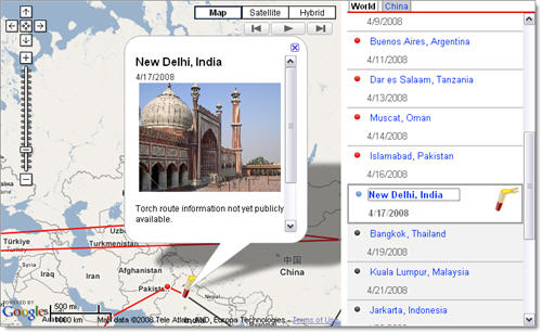 Track the Olympic Torch on Google Maps