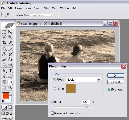 add a sepia old photo effect in Photoshop