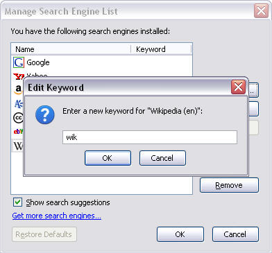 Use keywords for any search engine in Firefox