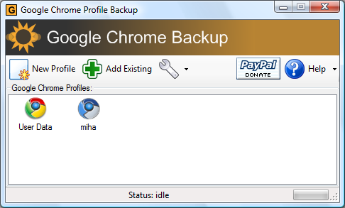 Google Chrome Backup screenshot