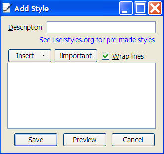Stylish - Add Style dialog box