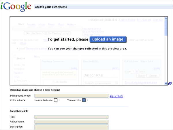 iGoogle Theme Maker