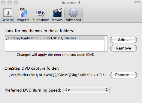 iDVD Burn Preferences