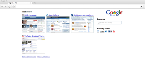 Google Chrome for Mac most visited