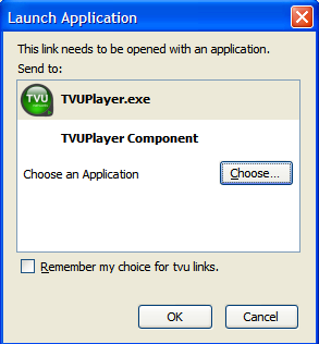 Launch Application dialog