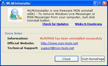 Remove Windows Live Messenger from your PC