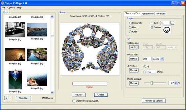 Create instant photo collages online