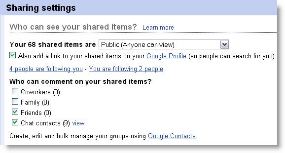 Sharing items in Google Reader