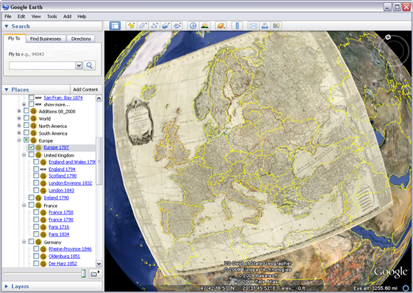 historical maps in Google Earth