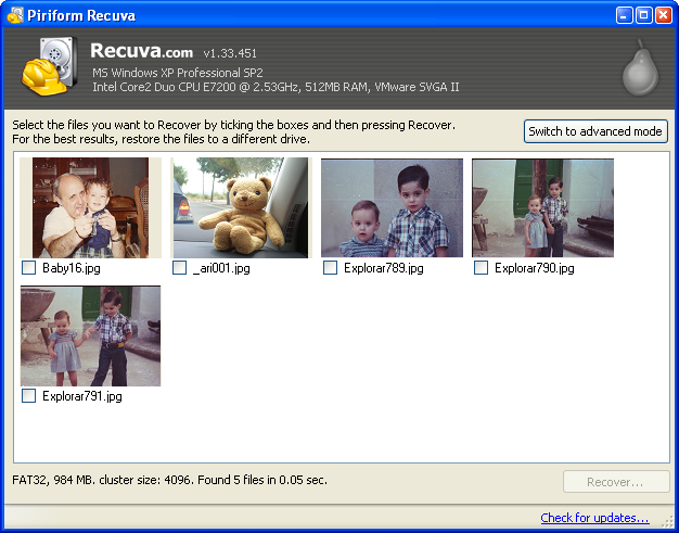 Recover deleted files with Recuva