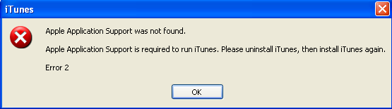 iTunes Apple Application Support error