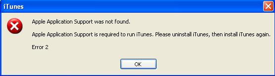iTunes Apple Application Support error
