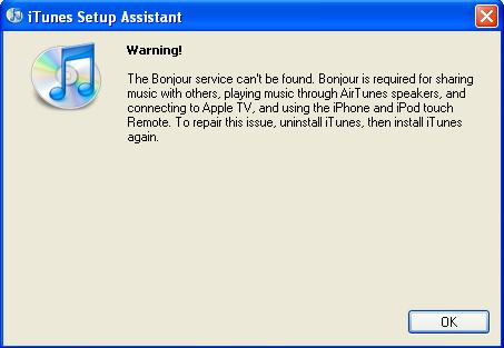 iTunes Bonjour warning