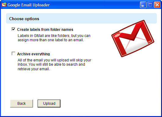 Export emails from desktop clients into Gmail