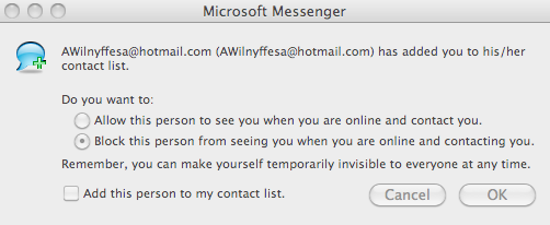 Microsoft Messenger contact spam