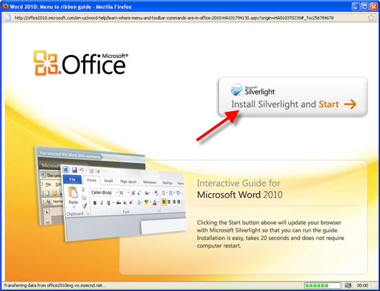 find Office 2003 commands in Office 2010