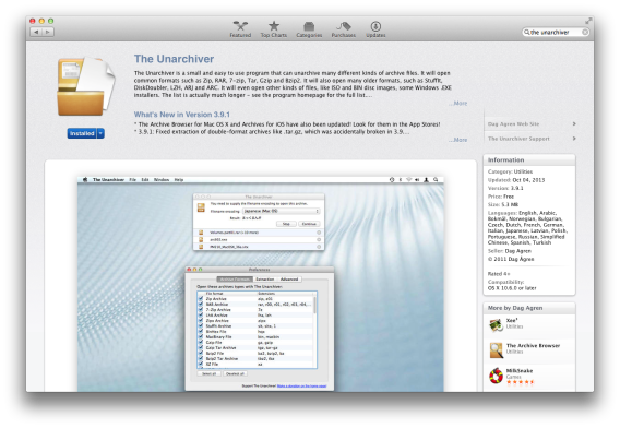 Use The Unarchiver on Mac to extract archived files
