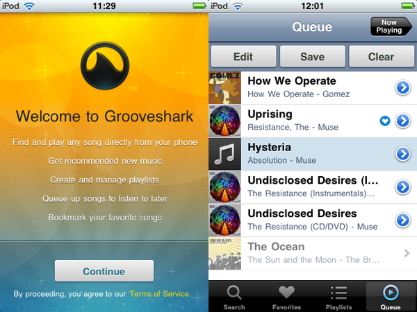 Grooveshark now available on your iPhone