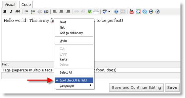 Spellcheck text on Firefox