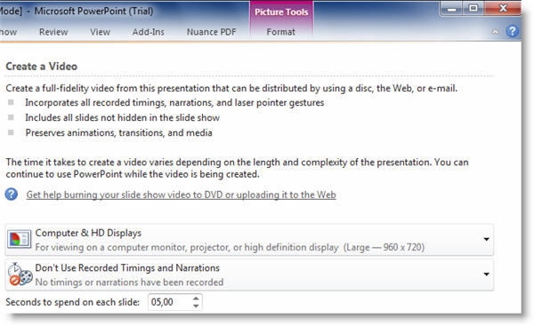 Convert PowerPoint presentations to video