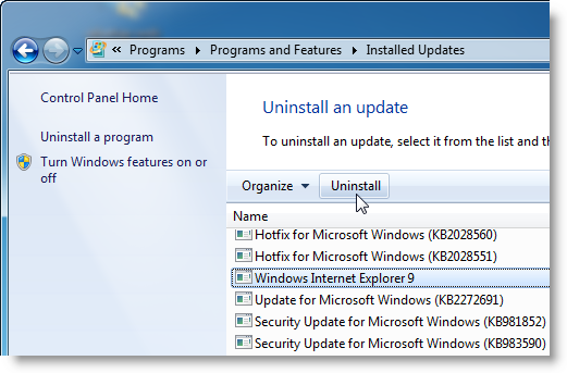 How to: Uninstall Internet Explorer 9