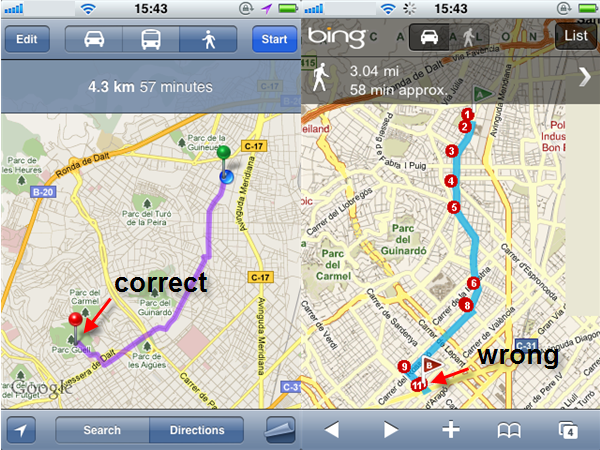 Head to head google maps vs bing maps whether on the mobile or standard site google maps is easier to use and its very clear its also much better integrated with google search whereas bing gumiabroncs Choice Image
