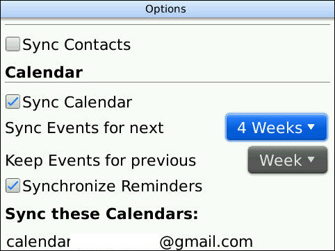 Blackberry Calendar