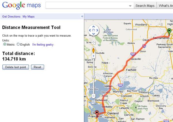 how to measure distances in google maps