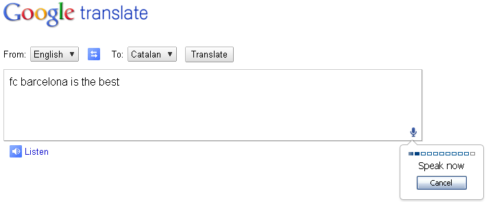 Chrome 11 voice translate