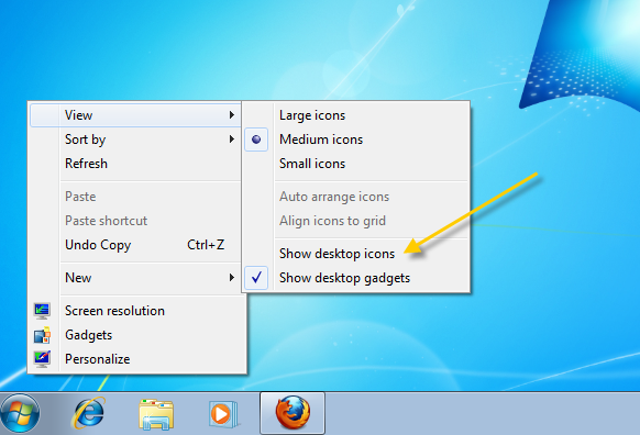 Hide Windows 7 icons