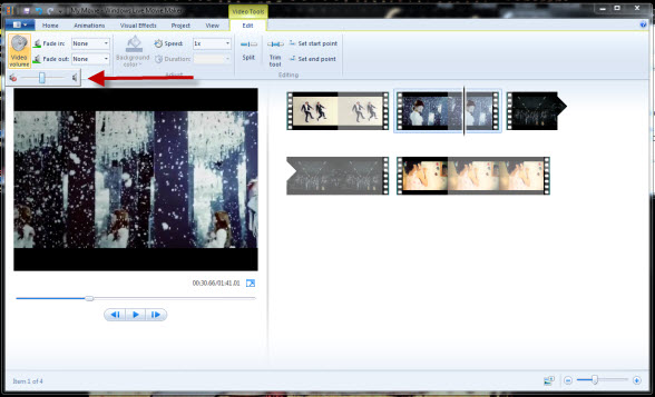how to mute audio in windows live movie maker