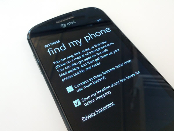 windows phone 7 find my phone