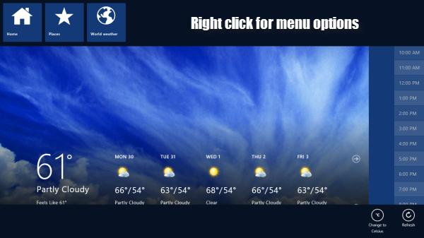 Windows 8 menu options