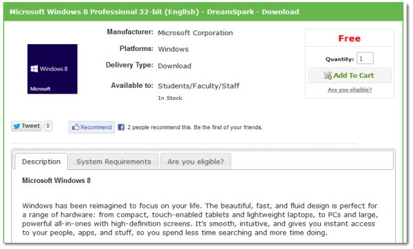 free windows 8 professional dreamspark