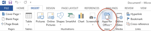 Microsoft Office 2013 insert app